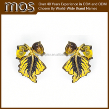 2015 newest Gold plated epoxy and resin fashion jewelry earring