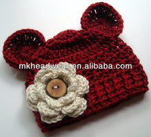 autumn red baby infant crochet winter hat with ears