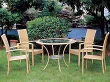 Irene Outdoor Leisure Furniture PE Rattan/Wicker/Cane All Weather Dining Chair With Table