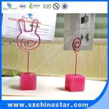 Cube resin base memo clip photo clip wedding holder