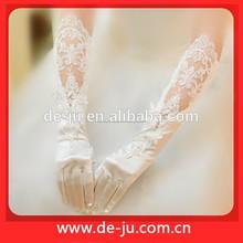 Promoción de marfil codo poliéster Appliqued dedo guantes guantes de novia largos guantes blancos