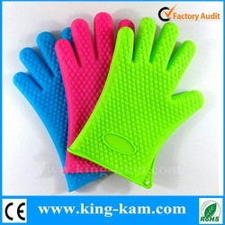 Kitchen Accessory Silicone BBQ Gloves Silicone Oven Mitte Silicone Heat Resistant Gloves With Fingers