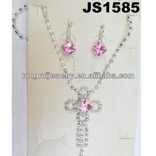 wholesale cute crystal copper silver jewelry set