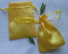 best selling small drawstring yellow satin bag