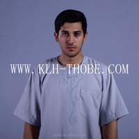 Men Half Sleeve Caftan Arabic Thobe Kaftan Abaya Dishdasha Galabeya Dress