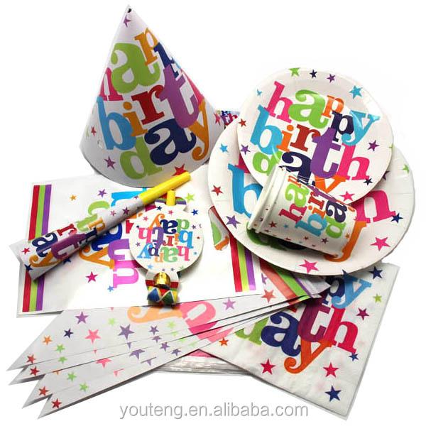 Stoviglie Usa E Getta Set di Bicchieri di Carta Piatti Tovaglioli Cappelli Corna Scoppi Festa di Compleanno di Carta Set