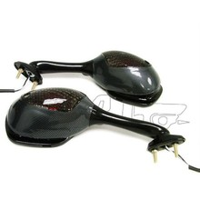 BJ-RM-038 Smoke Lens Carbon Fiber Sports Motorcycle Side Mirror Turn Signal For for 2005-2010 Suzuki GSXR 1000