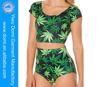 Hot sale sex girls leaves bikini very hot sexi girl sky digital printing fabric two piece swimwear swimsuit