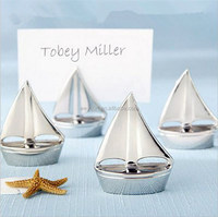 50pcs Shining Sails Silver Boat Place Card Holder name picture holder frame wedding party place card holder DHL Freeshipping