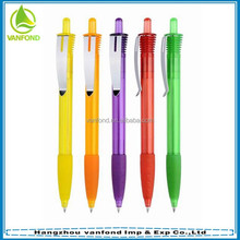 Cheap hotel promotional plastic ballpen with rubber grip and metal clip