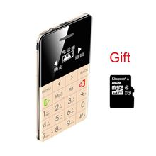 8G TF Gift AIEK/QMART Q5 M5 Card Mobile Phone 5.5mm Ultra Thin Pocket Mini Phone Quad Band Low Radiation AEKU Q5 Card Cell phone