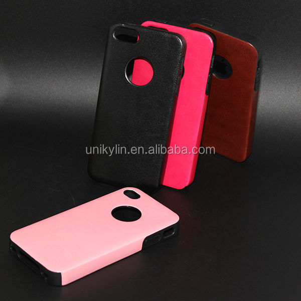 2014 New Hard Shell PU leather cell phone case for iphone5/5s
