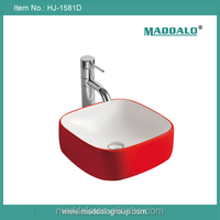 Colorful bathroom hand made ceramic unique small red bathroom washing sink