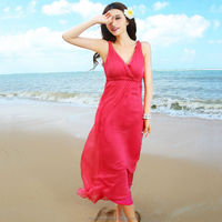 2015 fashion new design chiffon sleeveless red color dress