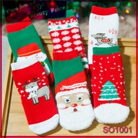 China Supplier wholesale cheap christmas style children funny anti-slip cotton sock without spandex