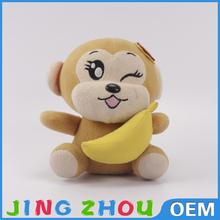 2015 Small size cute plush toy monkey with banana funny kids toy stuffed soft monkey plush