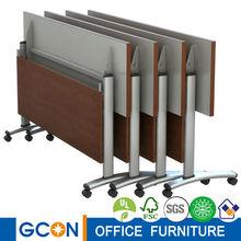 Flexible stainless steel frame wooden school folding table