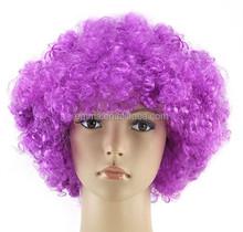 Cheap Curly Afro Wigs Wholesale Europe World Football Fan Wigs purple Cosplay synthetic wig W5013