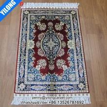 2x3ft Bright red persian rug nain handmade carpet