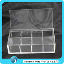 multi comparent acrylic cotton awab holder with hinged lid