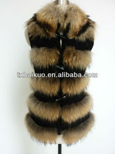 2014 real leather fur vest with natural raccoon fur around body as trimming