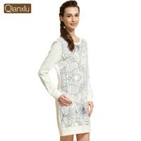 Qianxiu best quality long sleeve ladies night gown