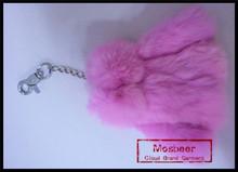Lovely Design Key Charm Rex Rabbit Fur Made Cute Pattern Keyring Fancy Decoration