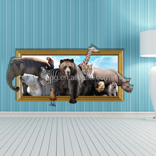 3D animal world Wall Art Sticker home Decor Mural Kids Room Home Decoration Removable Cartoon decorative painting