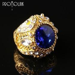 wholsale fashion big crown glass gemstone european zircon ring for man