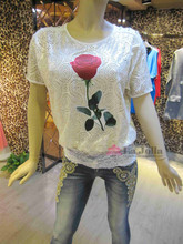 short sleeve hot drilling rose picture mesh matching 2-1