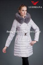 811C8008 Long Cream women down jacket with belt LUOMIANA Yabao Rd. 80% duck or goose down padding