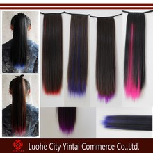 Highlight black and purple ombre wrap around ponytails with colorful ends