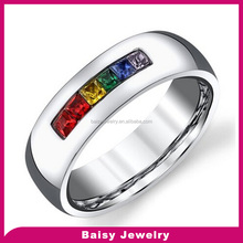 6mm High Polished jewelry gay pride rings Rainbow Colored CZ men Wedding ring in stainless steel