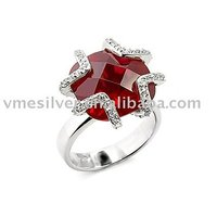 Sterling Silver Ring with Crystal (RCA-0929), Solitaire Ring