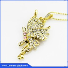 Butterfly pink and white crystal female usb flash drive female pen drive best price flash memory