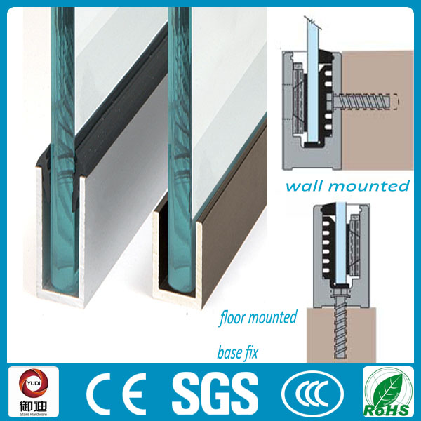 Customised U Channel Aluminium Glass Balustrade For Sale
