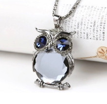Wholesale fashion jewellery crystal retro owl necklace