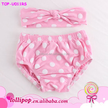 2015 Hot selling newborn cotton diaper cover bloomers cute pink polka dots baby bloomers and headband set