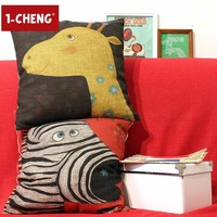 Hand-drawn Cartoon Pillow Cover Animal Fairy Tale Cushions For Leaning On