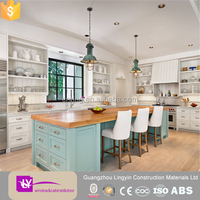Europe Shaker style WHITE/Green /blue wooden kitchen cabinets wholesale