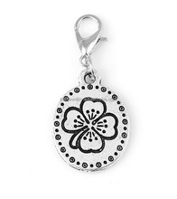 flower engraved oval metal charm pendant custom design jewelry charm pendant