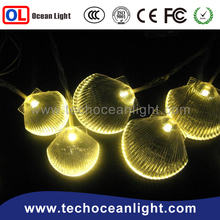 New 2015 Christmas white lights 10 LED yellow scallop Battery String Light