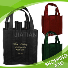 Portable Wholesale Sectioned Non Woven Wine Glass Carrier Wine Bottle Bag
