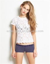fashion type short sleeves lace blouse