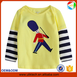 New patterns! Children cartoon long sleeve t shirt for kids wear 100% cotton casual and plain t shirt wholesale China (Ulik-T04)