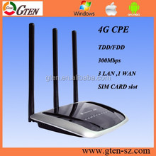 OEM tech support 300Mbps 4g wireless router with sim card slot with 3 X external antenna for Enterprise and building