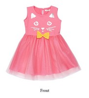 2015 new model girl dress cute cat pattern party dress children girl dress