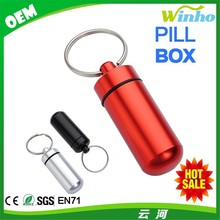 Winho High Quality Aluminum Keychain Pill Tablet Storage box Container