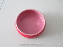 pink cat and dog glazed white ceramic pet water bowls set