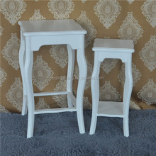 MDF home furniture wooden white flower stand set of 2
